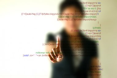 Business woman pointing programming script