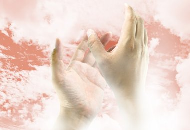 Hands reaching to the sky, the image ideas for spiritual concept