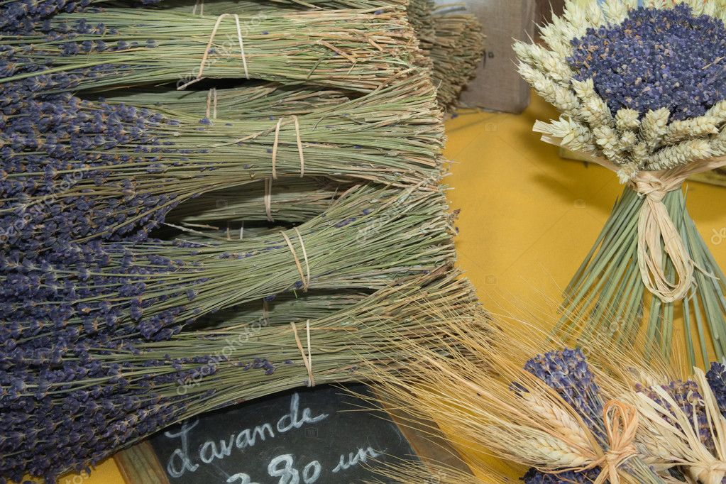 Bunches of lavender on a market stall, Provence