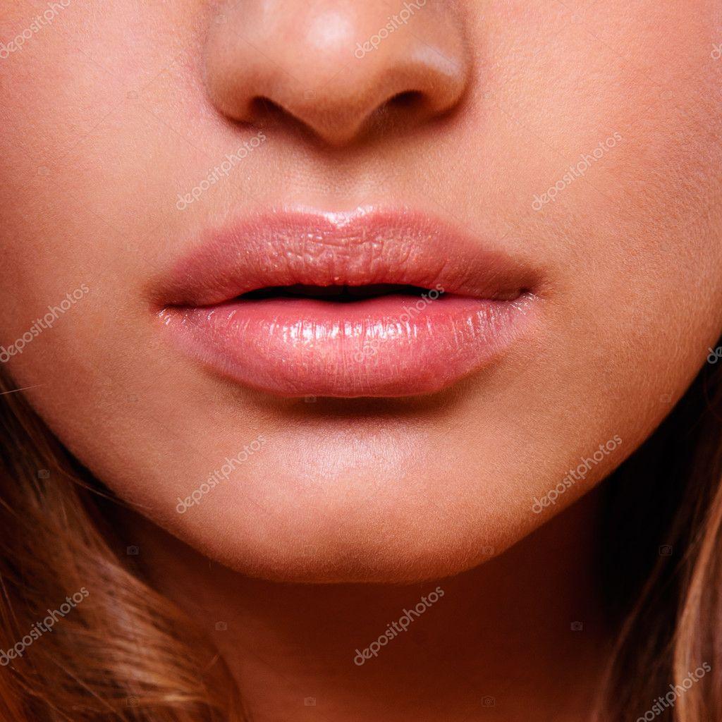 Beautiful woman with bright lips make-up