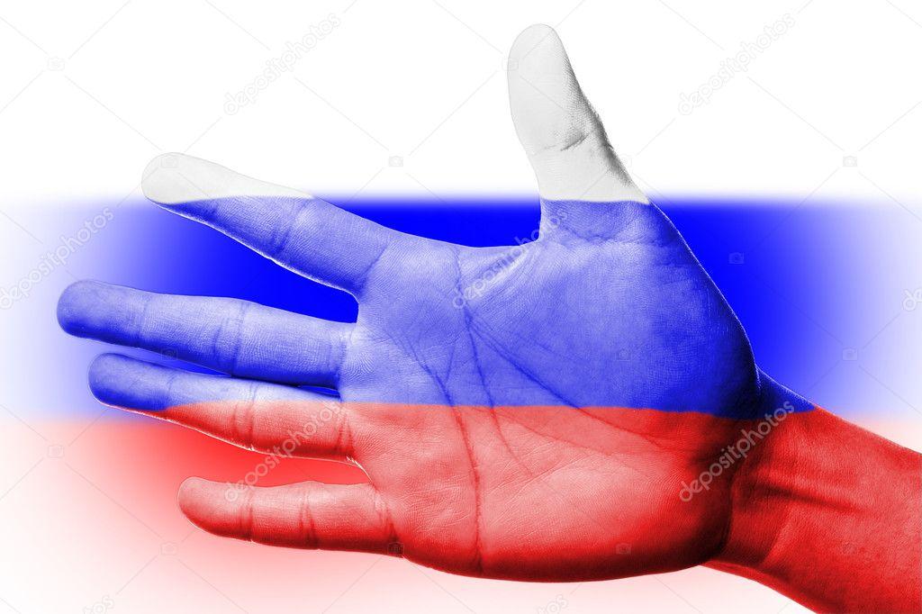 Rusya Ulusal Bayrak Boyama Ile Fan Tezahürat Stok Foto Hin255