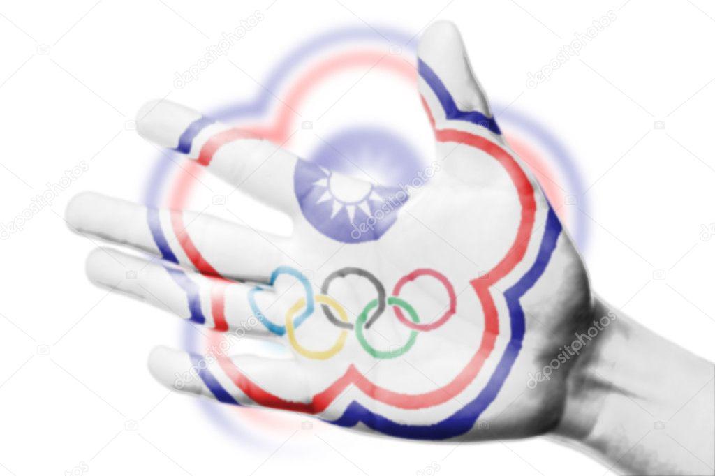 Asya Olimpiyat Oyunları Ulusal Bayrak Için çin Taipei Boyama Ile Fan