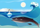 Fotografia pinguini e balene
