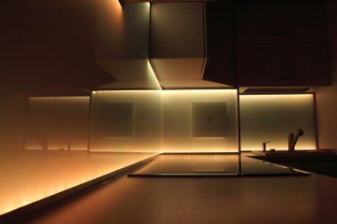 Kitchen with orange led lighting