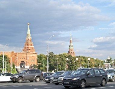 Traffic jam near the Moscow Kremlin