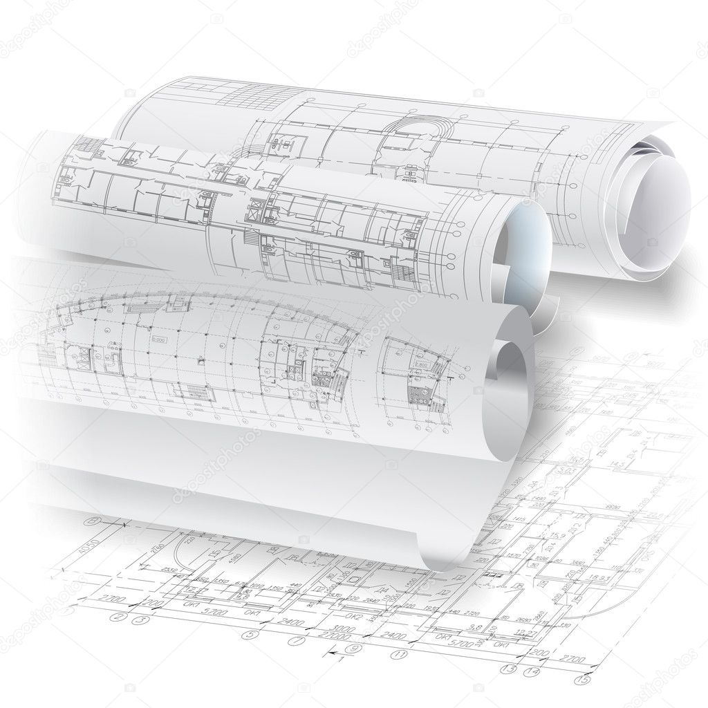 Architectural Background With Rolls Of Drawings Vector