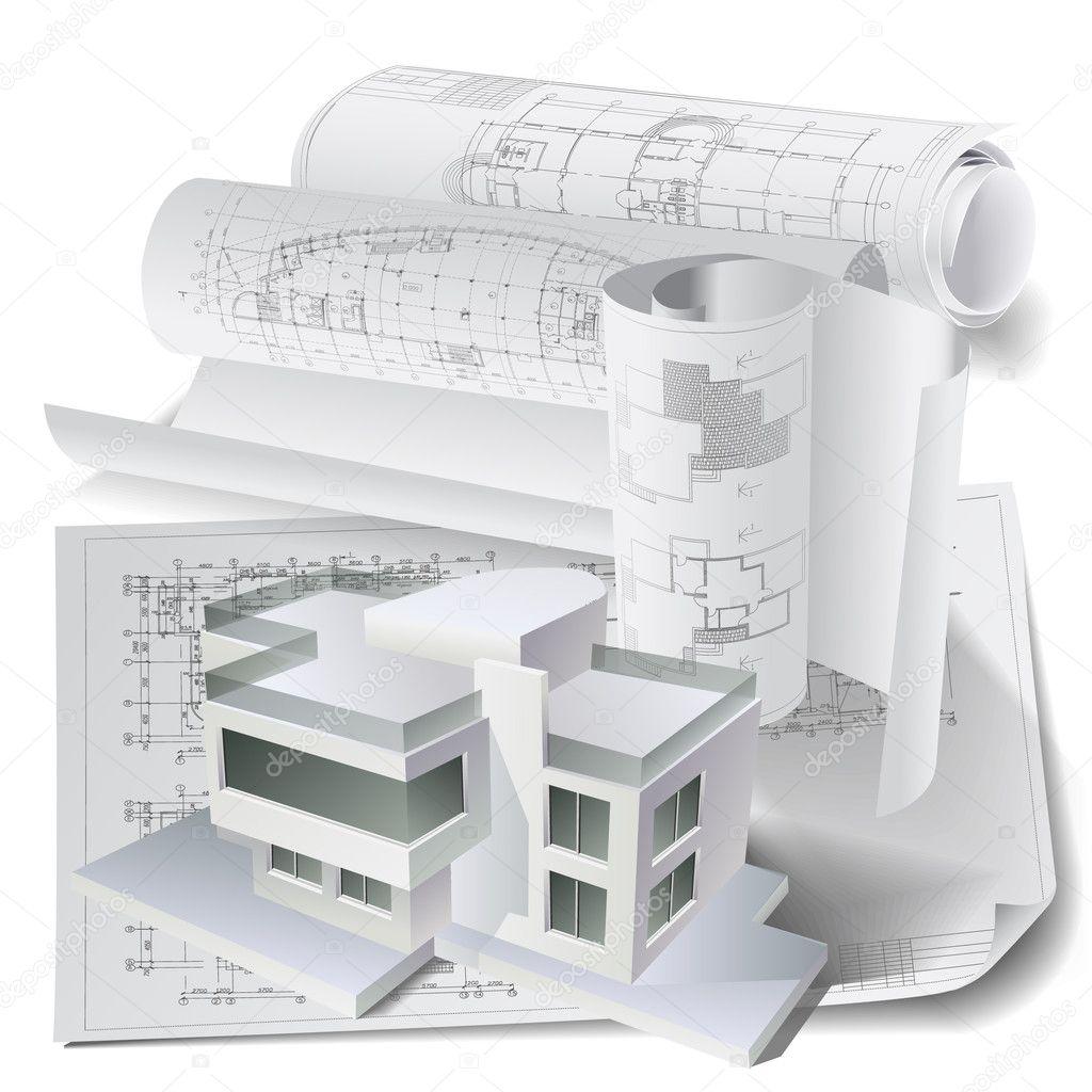 Décor architectural avec un modèle et des rouleaux de dessins techniques de construction en 3d image vectorielle 12304914