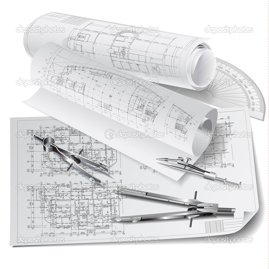 Architectural Background With Drawing Tools And Technical Drawings Stock Vector 12304936
