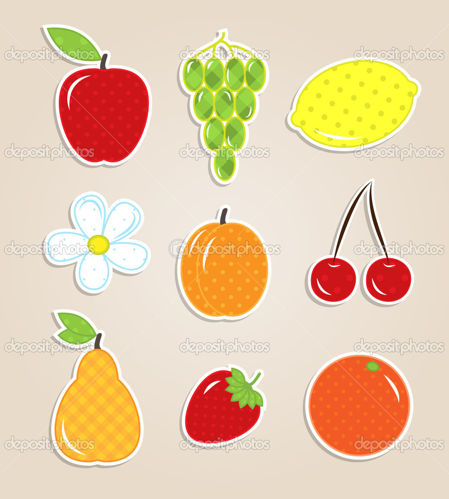 Scrapbook elements - cute fruits textile stickers