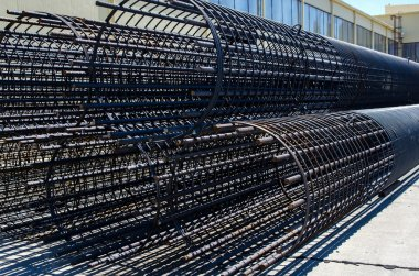 Steel cage made from steel bars and welded steel wire