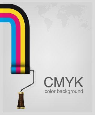 CMYK vector . Print colors paint-roller.