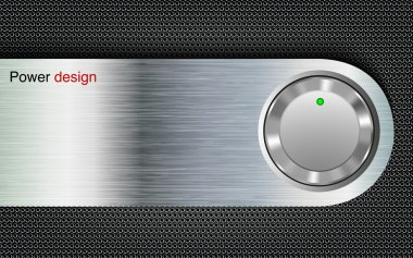 Power button on a metal background