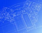 Fotografie architektonické pozadí. část architektonického projektu, architektonický plán, technický projekt, kreslení technické dopisy, architekt v práci, architektury, plánování na papíře, stavební plán