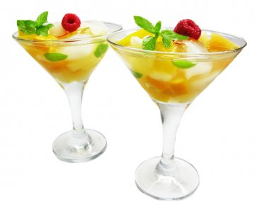 Alcohol punch cocktail drinks with mint
