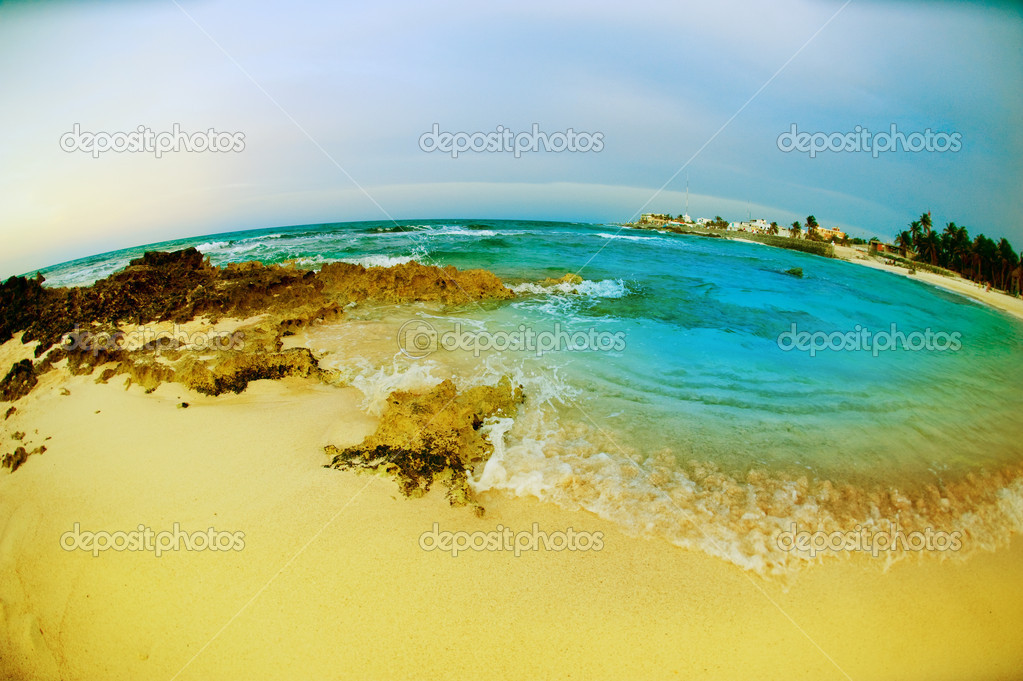 Seascape fisheye view. Isla Mujeres, Mexico