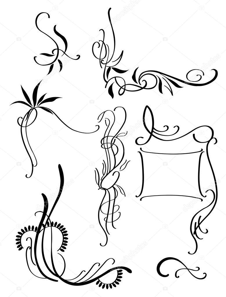 patrones decorativos negros — Vector de stock © sibiryanka #11950924