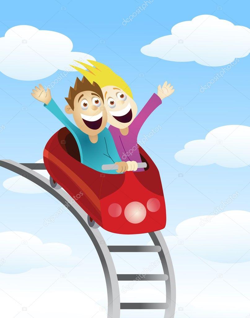 Man and women an a roller coaster