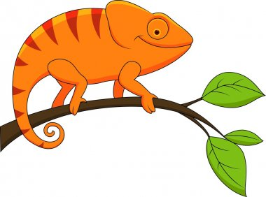 Funny chameleon cartoon