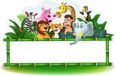 Fotografia animali dei cartoni animati con segno bianco