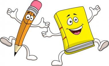 Pencil and book cartoon character
