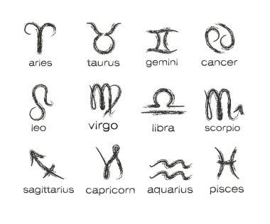 Horoscope paint brush zodiac vector signs