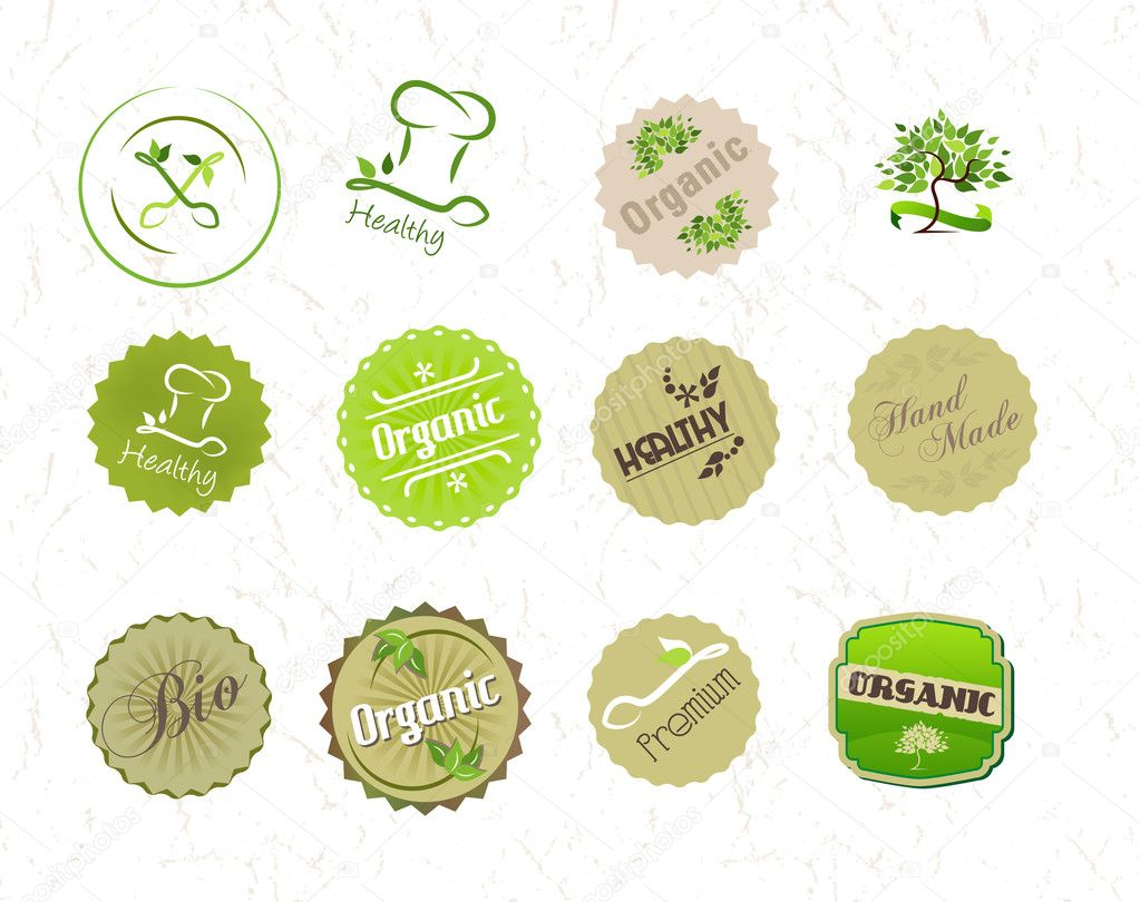 Labels set for organic natural eco food and products