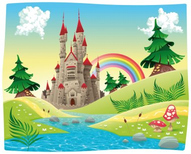 Panorama with castle. Cartoon and vector illustration. clip art vector