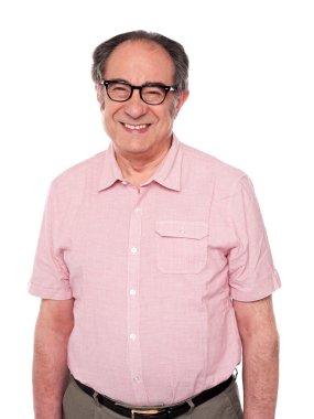 Cheerful senior citizen wearing eyeglasses