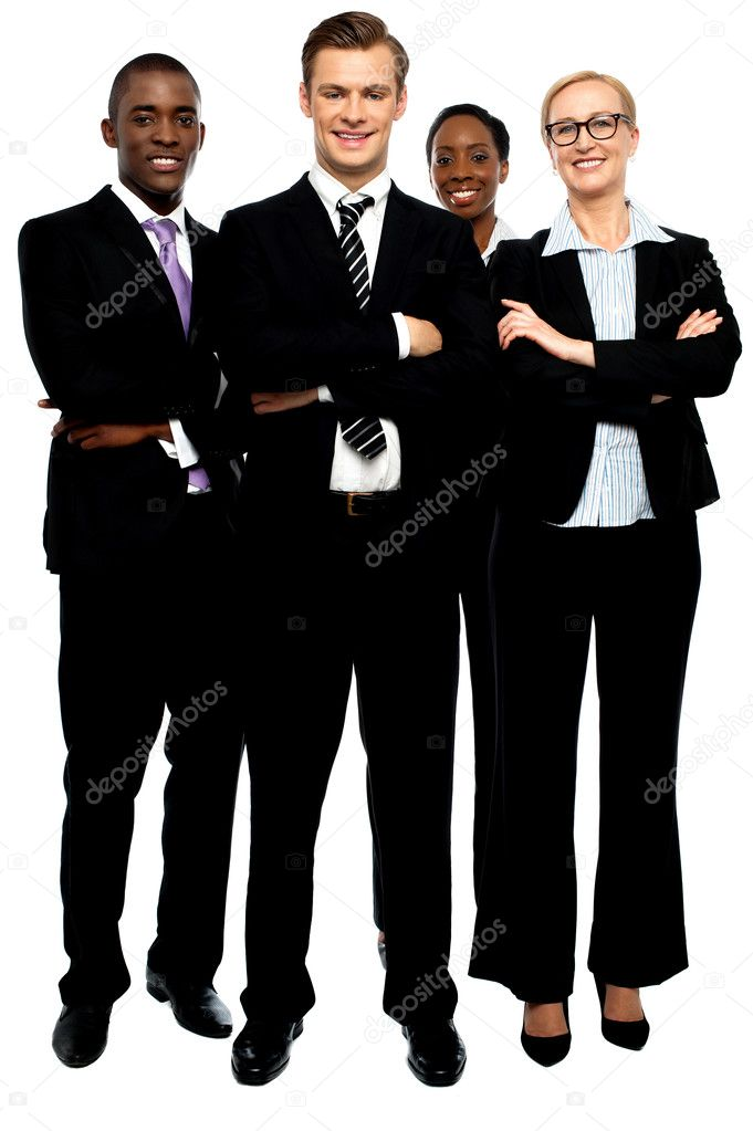 Group of business , arms crossed. Full length portrait
