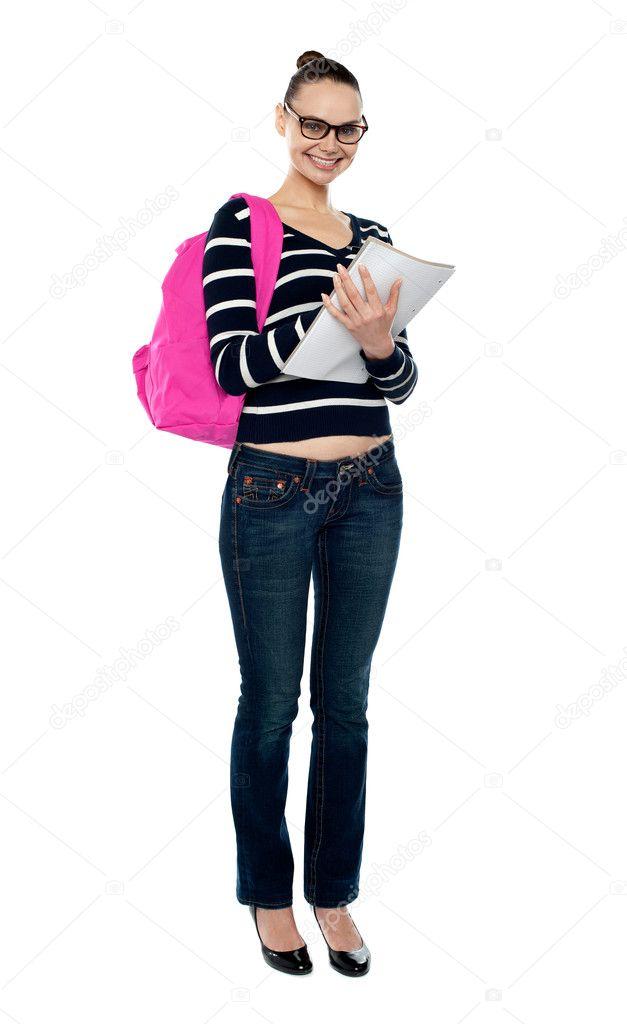 in voller Länge Portrait von College-student — Stockfoto ...
