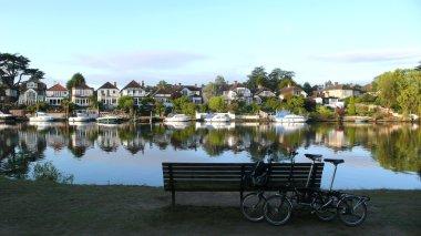Folding bicycles near Thames River