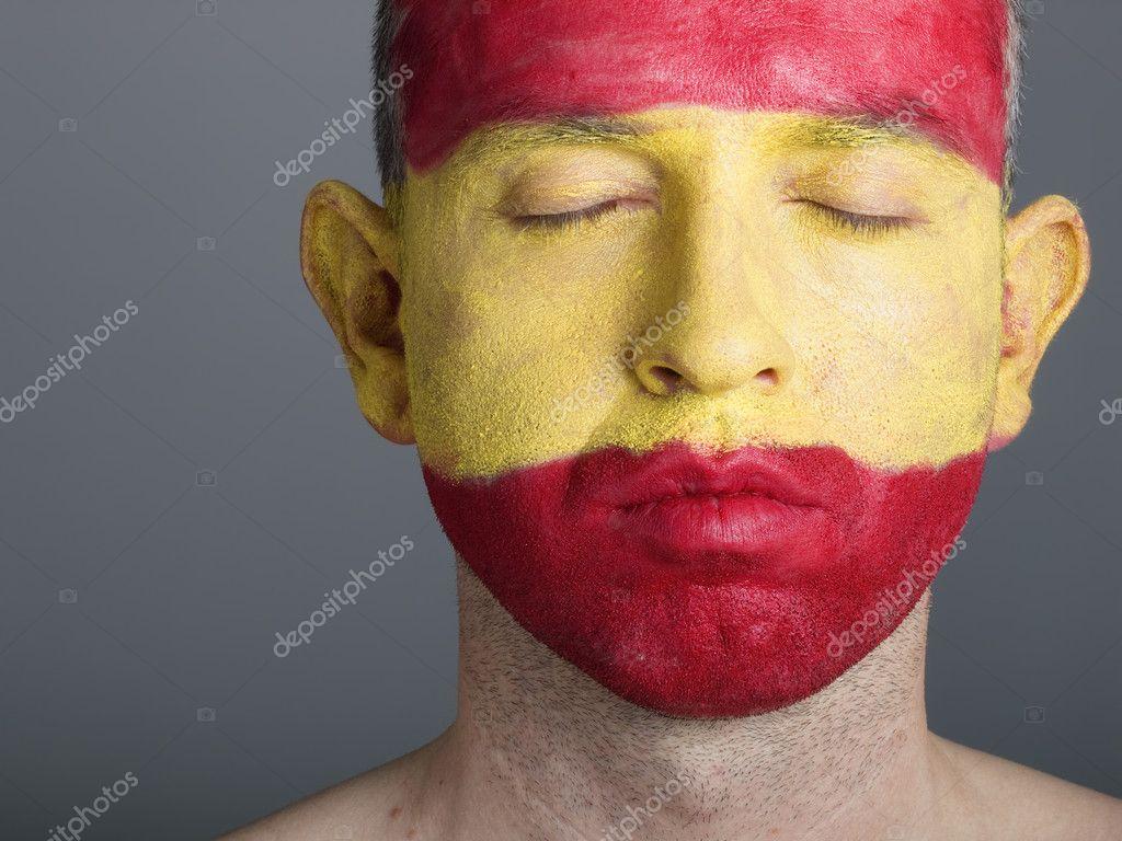 Faszinierend Gesicht Bemalen Galerie Von Mann-gesicht Bemalt Mit Der Flagge Von Spanien,