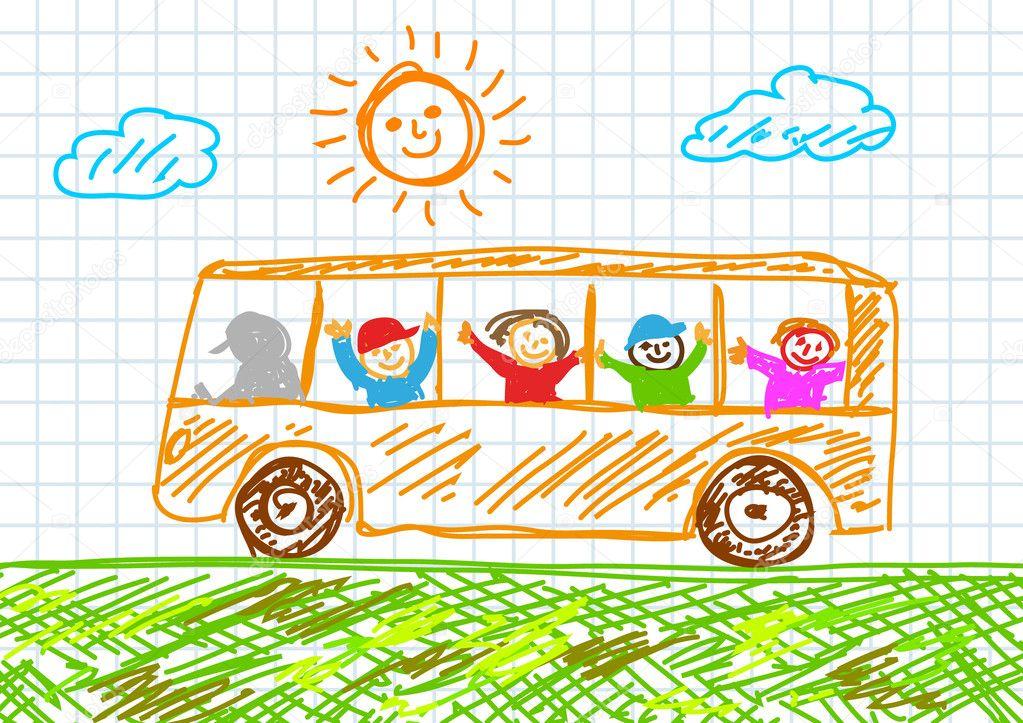 добавил, картинка автобус с флажками едет по улице фото продажу, при
