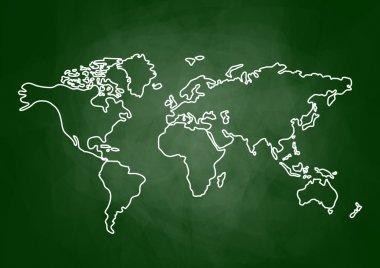 Drawing of map on blackboard
