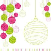 ročník karta s vánoční koule. vektorové ilustrace