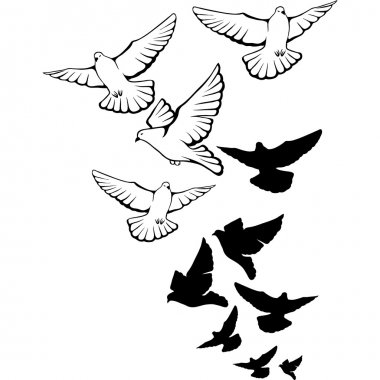Flying pigeons background. Hand drawn vector illustration.