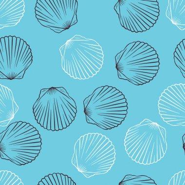 Seamless hand drawn texture of shells. Vector Illustration.