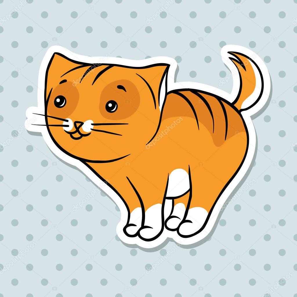 赤のかわいい面白い猫スタンド。ベクトル イラスト — ストックベクター