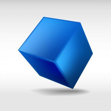 Blue cube isolated on white background. Vector illustration.