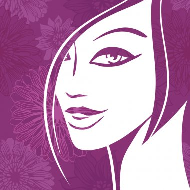 Abstract girl portrait. Beautiful woman vector silhouette.