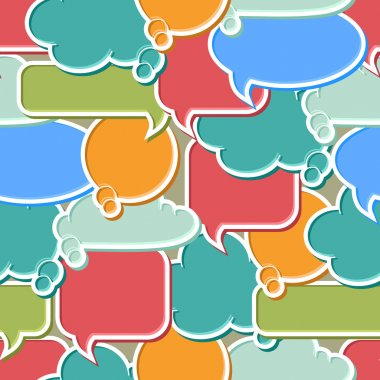 Seamless pattern of colorful speech bubbles and dialog balloons