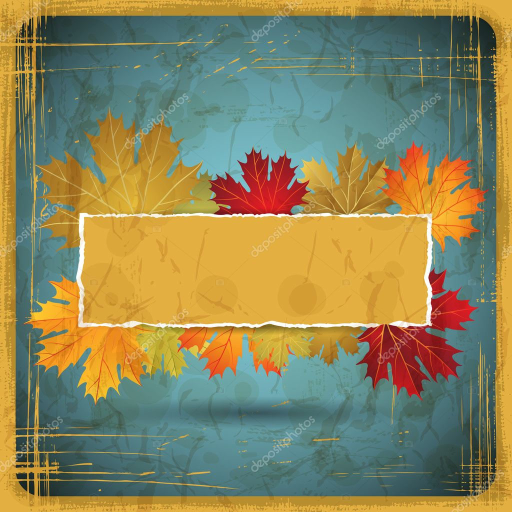EPS10 Autumn leaves grunge background. Vector illustration.