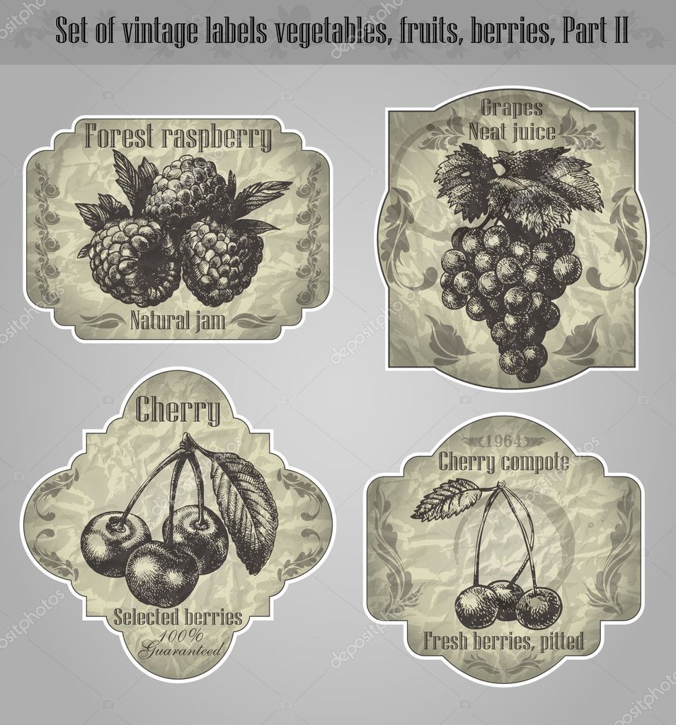 Vector set: vintage labels fruits, vegetables, berries - inspire