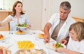 Rodina chystá začít s večeří