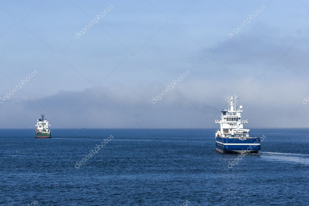 Two cargo ships