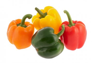 Four multicoloured bell peppers