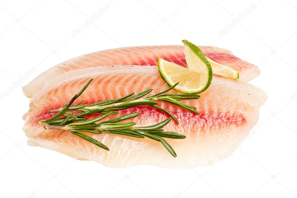 Tilapia fillet with a slice of lemon and rosemary isolated on wh