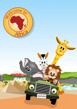 African animals in the car