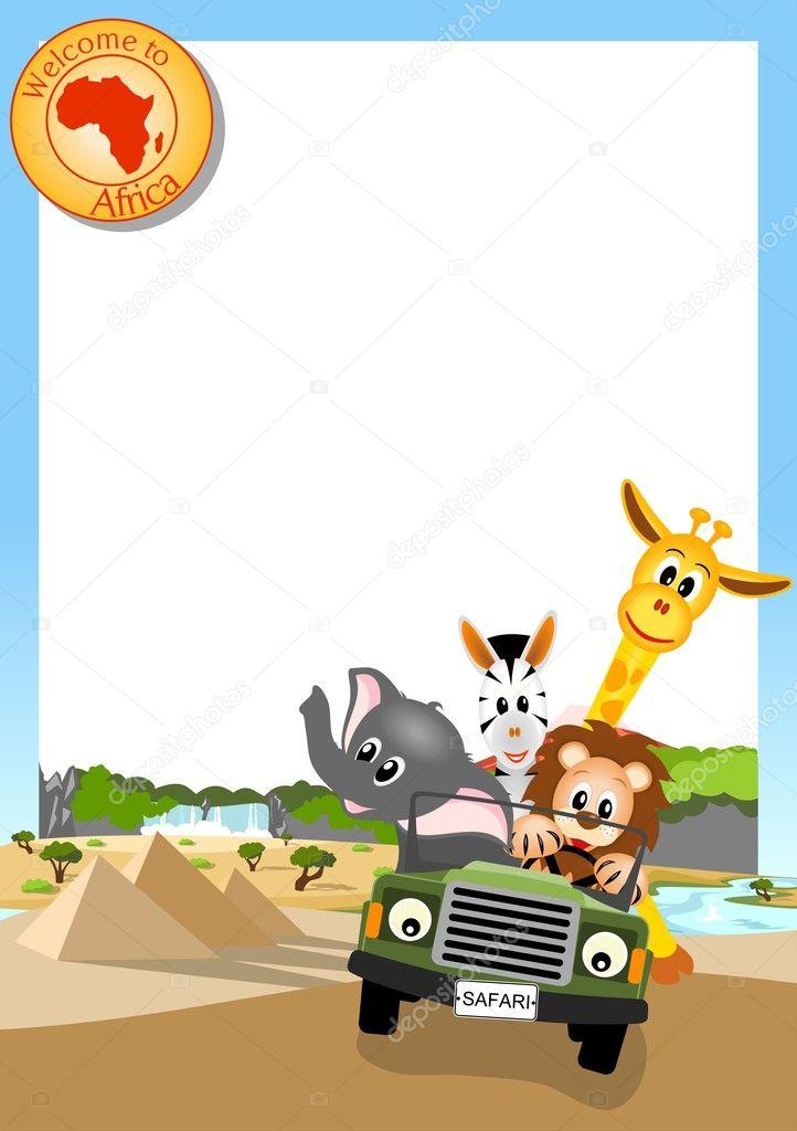 fundo branco com animais africanos no carro vetores de stock anikakodydkova 10749527. Black Bedroom Furniture Sets. Home Design Ideas