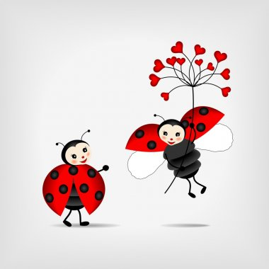 Ladybugs with red flower